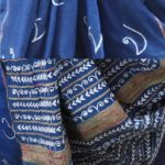 Ink Blue Scrip Cotton Saree